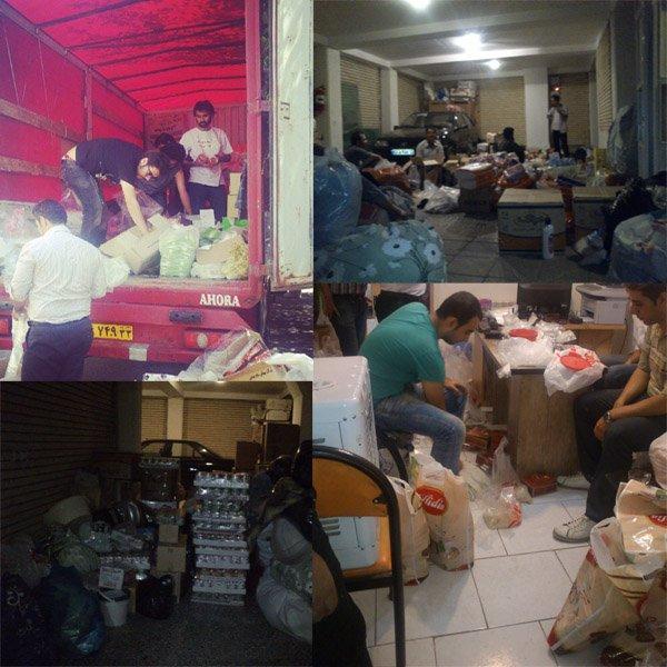 بسته بندی کمک ها برای ارسال به خانوارهای زلزله زده