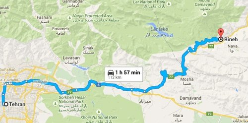 مسیر تهران به رینه