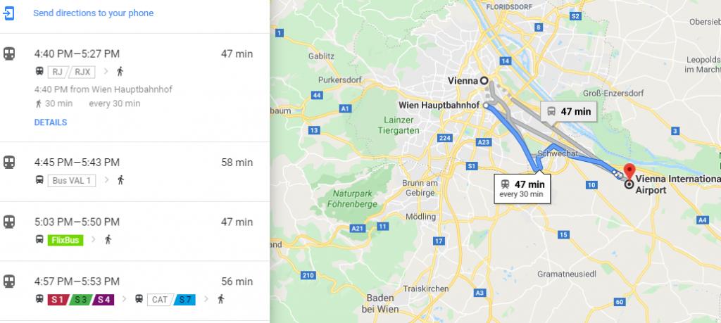 فاصله فرودگاه وین تا شهر وین Vienna International Airport