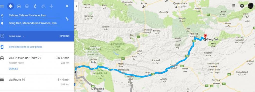 مسیر سفر به جنگل راش و سنگده از تهران