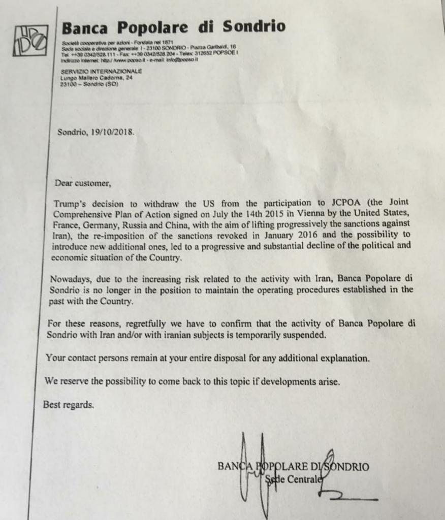 تحریم بانکی ایرانیها در ایتالیا
