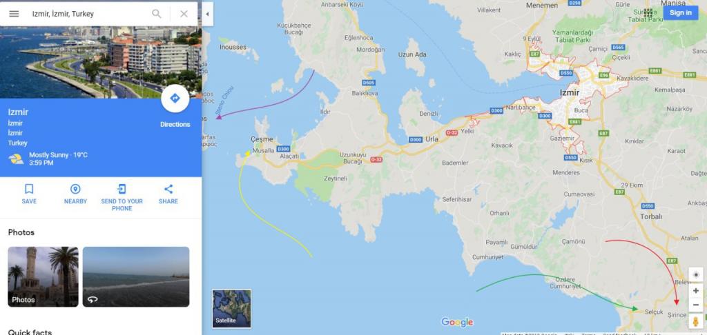 نقشه ازمیر و شهرهای اطراف
